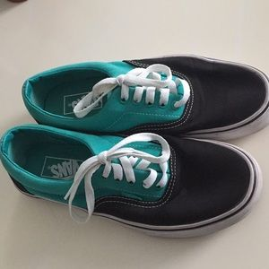 Teal and black color block unisex vans